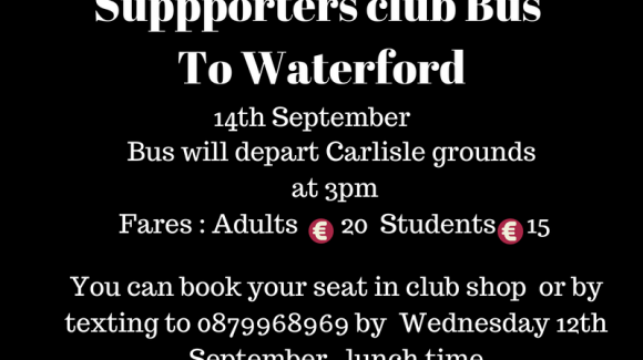Supporters bus to Waterford